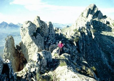 Scrambling along the Bernia ridge. Betty