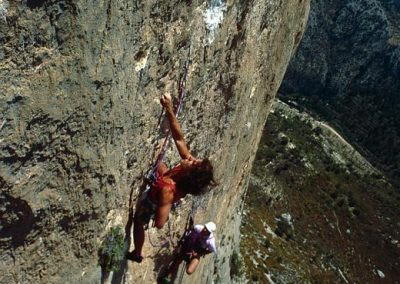 Wish you were here. 8b. (gear)  1st ascent .Mark climbing 3